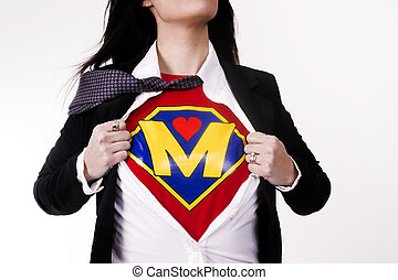 Super Mom - Woman wears a superhero style t-shirt under her...