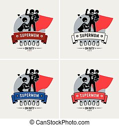 Super mommy or supermom logo design. - Vector artwork of a...