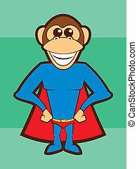 Super Monkey - Cartoon Chimpanzee Super Hero