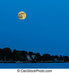 Super moon on blue sky with water