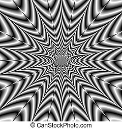 Super Nova in Black and White - A digital abstract fractal...