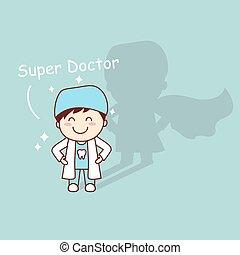 Super, odontólogo, saúde, caricatura, dente
