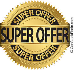 Super offer golden label, vector il