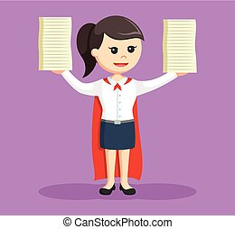 super office girl finished lot of a task
