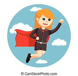 super office girl flying with sky background
