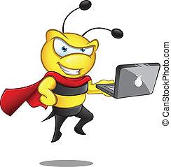 super, ordinateur portable, -, abeille