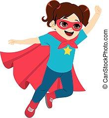 super, pequeno, voando, herói, menina
