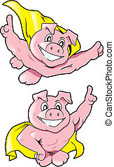 Super Pigs - A caped, pink pig in two heroic poses