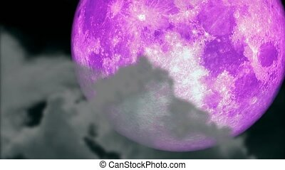 super pink moon on the night sky and blur heap cloud passing