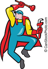Super Plumber Plunger Wrench Cartoon - Illustration of a...