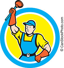 Super Plumber With Plunger Circle Cartoon