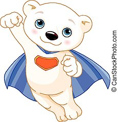 Super Polar Bear - Illustration of Super Hero Polar Bear