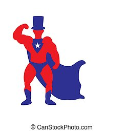 Super President silhouette of a man with a raincoat and top hat on a white isolated background. Vector image