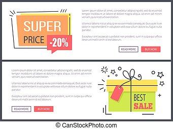 Super Price Best Sale Posters Vector Illustration