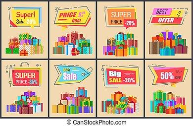 Super Price Big Sale Posters Vector Illustration