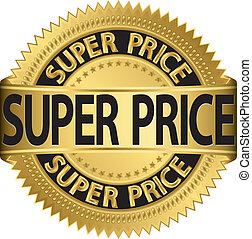 Super price golden label, vector il