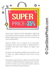 Super Price Promo poster with Shopping Bag Sticker