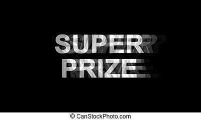 Super Prize Glitch Effect Text Digital TV Distortion 4K Loop...