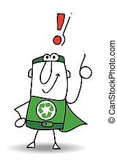 super, reciclagem, herói, ter, um, solução