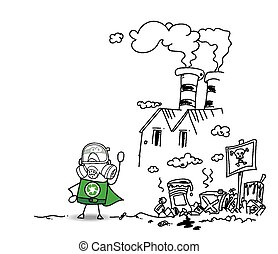 super, recyclage, héros, usine, polluer