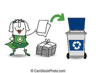 Super recycling girl recycles paper