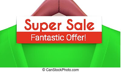 Super sale ad banner. Green jacket with tag hanging on hangers. Creativity fantastic offer for your design of posters, print design, creative arts. Horizontal 3D illustration.