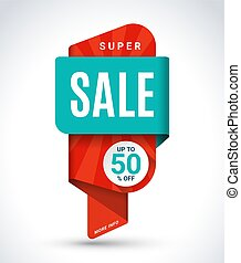 Super sale banner. Special offer, discount, Up to 50 percent off design template. Half price colorful sticker. Shopping background
