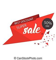 Super Sale Best Discount 50% Off Red Sale Banner Vector Image