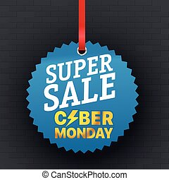 Super sale concept. The Cyber Monday Vector Logo