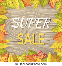 Super Sale Fall Banner Isolated Wooden Background