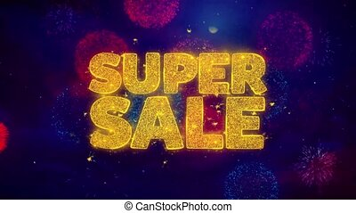 Super Sale Greeting Text Sparkle Particles on Colored...