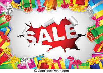 illustration of sale with colorful gift box