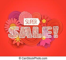 Super sale promo banner. Vector illustration - Summer sale...