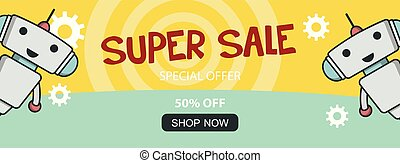 Super sale promo banner with cute robot