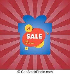 Super sale sticker on box silhouette