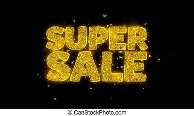 Super Sale Typography Written with Golden Particles Sparks...