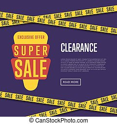 Super sale website template with text