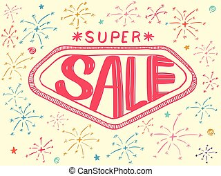 Super SALE with sparkles drawing style