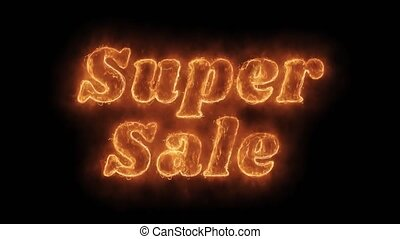 Super Sale Word Hot Animated Burning Realistic Fire Flame...