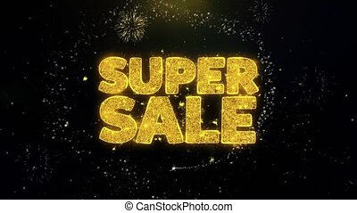 Super Sale Written Gold Particles Exploding Fireworks...
