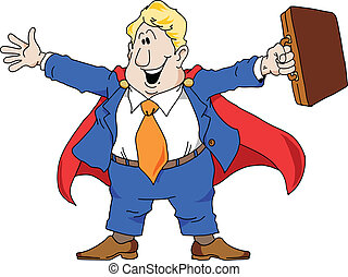 Super Salesman - Cartoon illustration of an excited salesman...