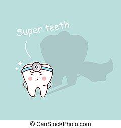 super, santé, dessin animé, dent