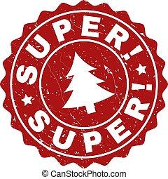 SUPER! Scratched Stamp Seal with Fir-Tree