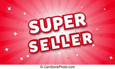 Super Seller 3D Text on Red Sparkling Falling Confetti Background. ad, Promotion, Discount Offer Sale Loop Animation.