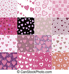 super set vector seamless pattern with hearts