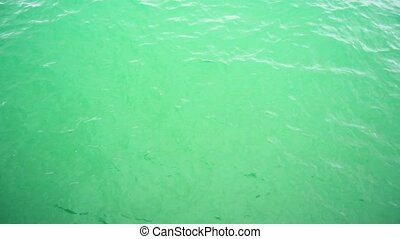 Super slow mo beautiful surface of green water for...