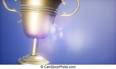 Super slow motion Champion trophy cup
