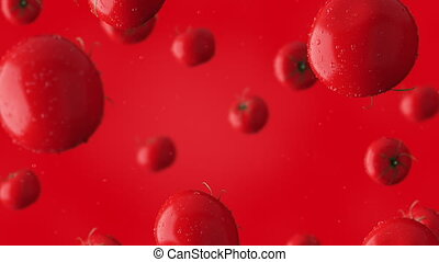 Super slow motion clip of falling red tomatoes and water drops against red background. 4K seamless loopable CG animation