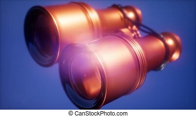 Super slow motion flying old military binoculars