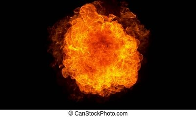 Super slow motion of fire blast isolated on black background. Filmed on high speed camera, 1000 fps